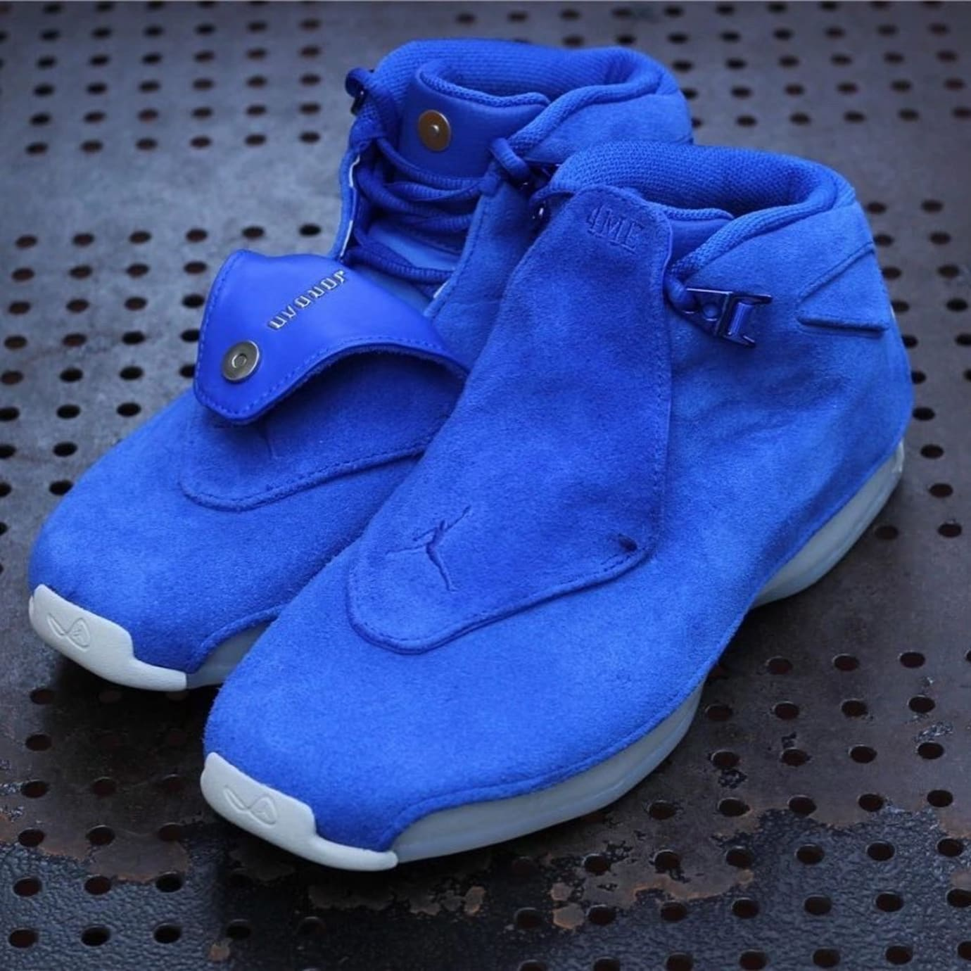 3c4bad92ae8f Air Jordan 18 Blue Suede Release Date Front