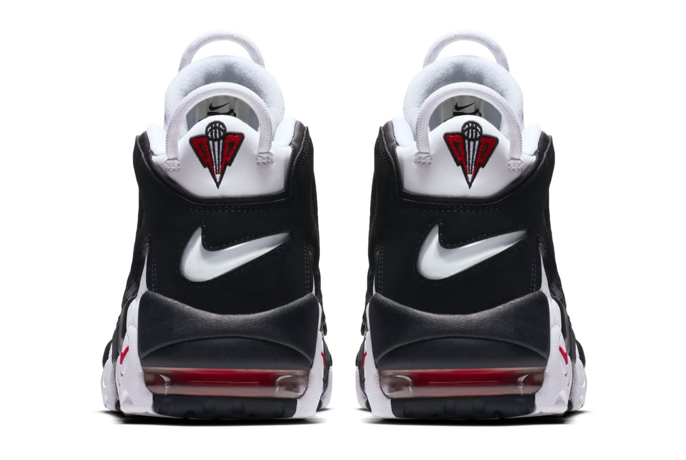 b91d2e85a79 Image via Nike US11 · Nike Air More Uptempo White Black Varsity Red Heel