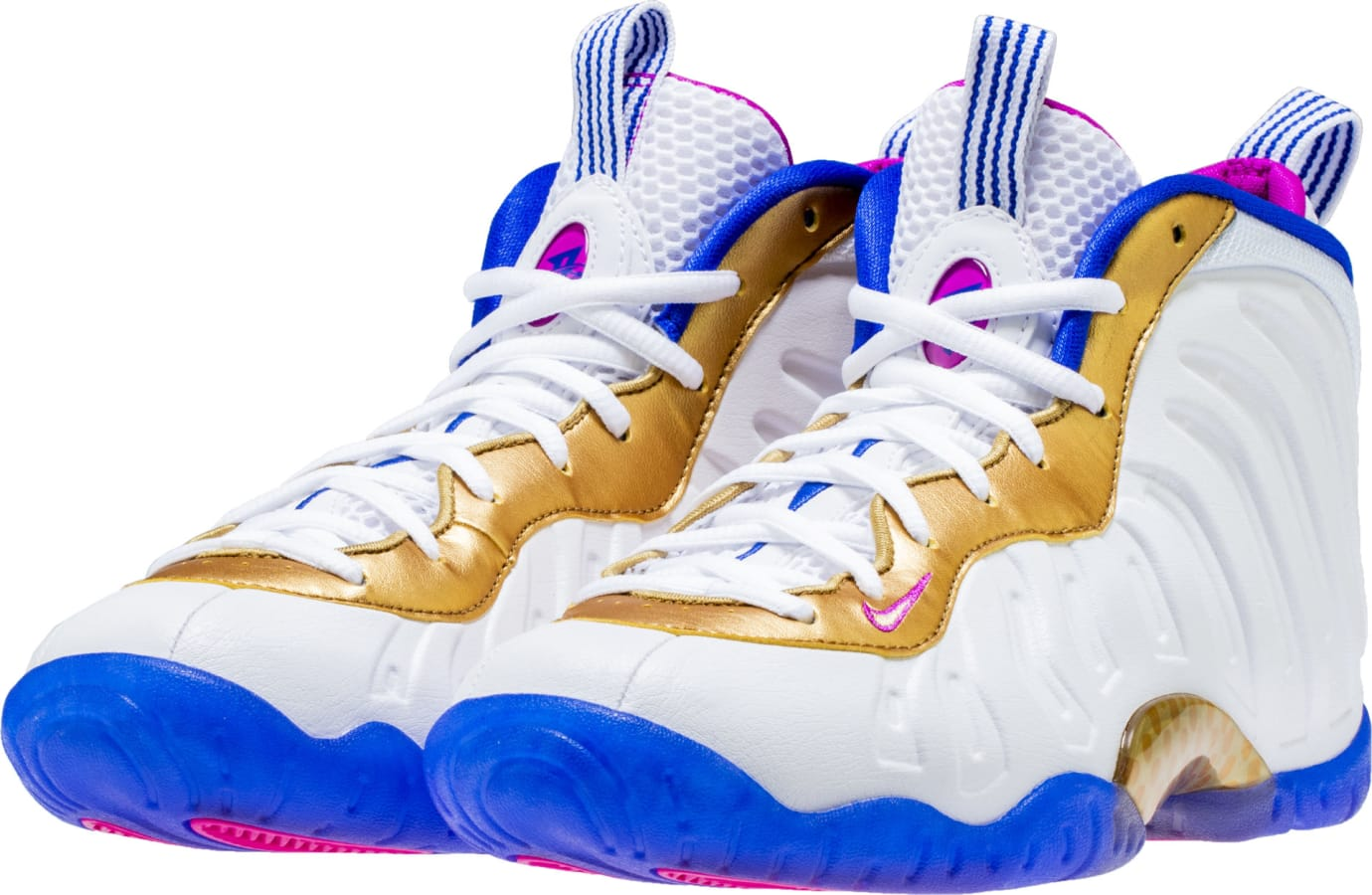 Nike Little Posite One White Fuchsia Blast Racer Blue Metallic Gold Release Date 644791-103 Front