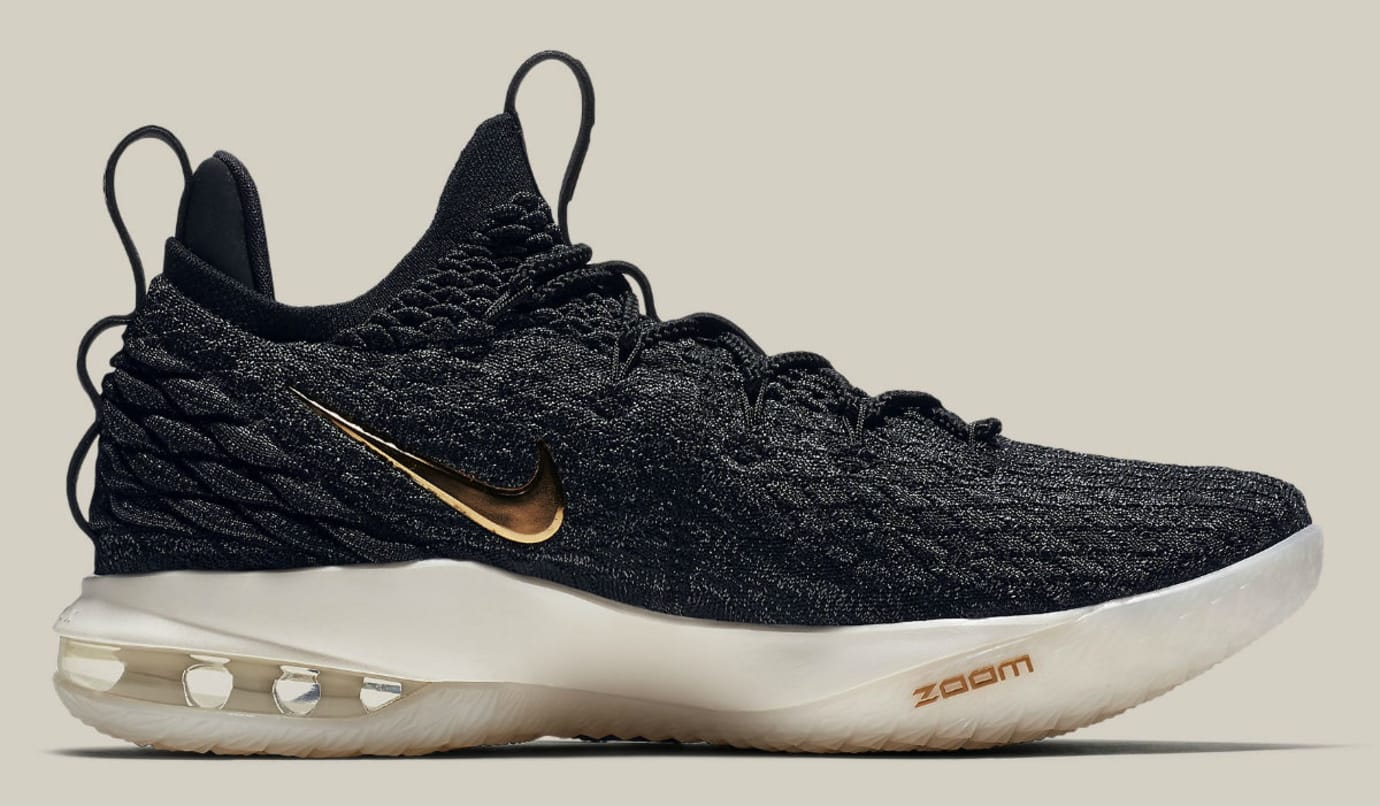 867b7acea942 Nike LeBron 15 Low Black Gold Phantom Release Date AO1756-001 Main ...