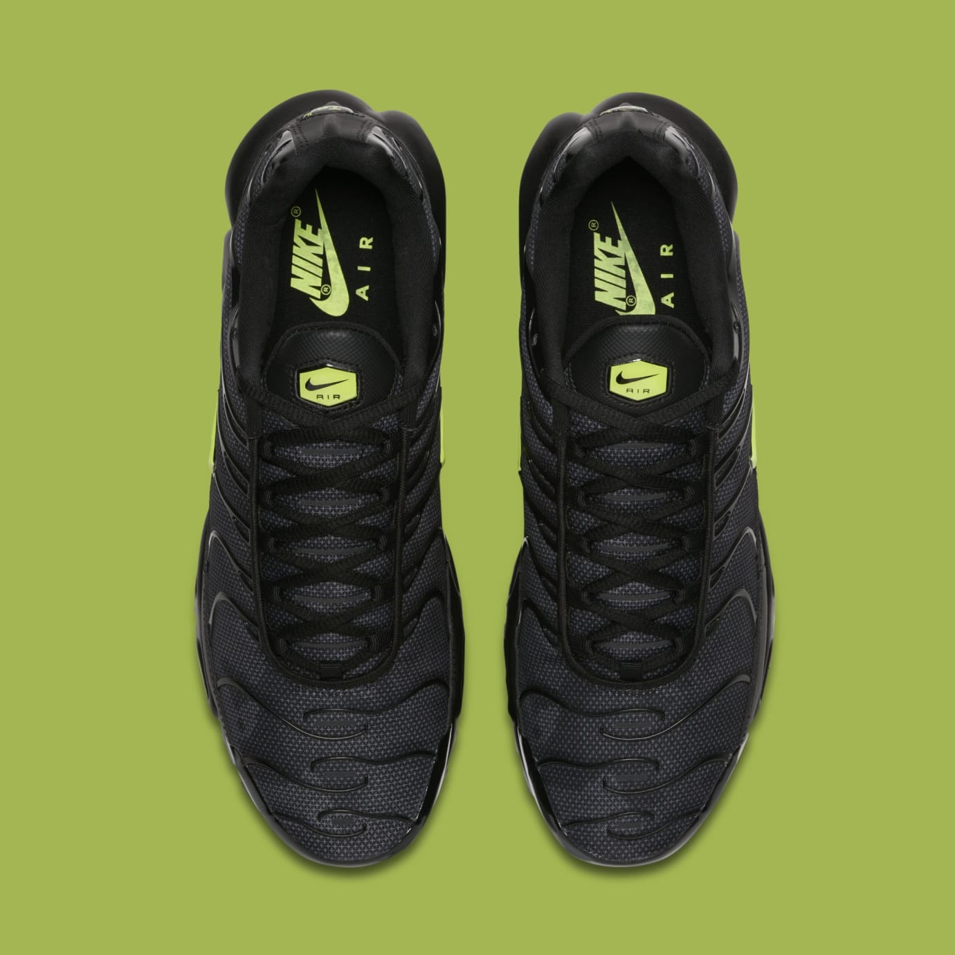d293a179ecab Image via Nike Nike Air Max Plus  Black Volt Glow-Wolf Grey  AJ2013-001