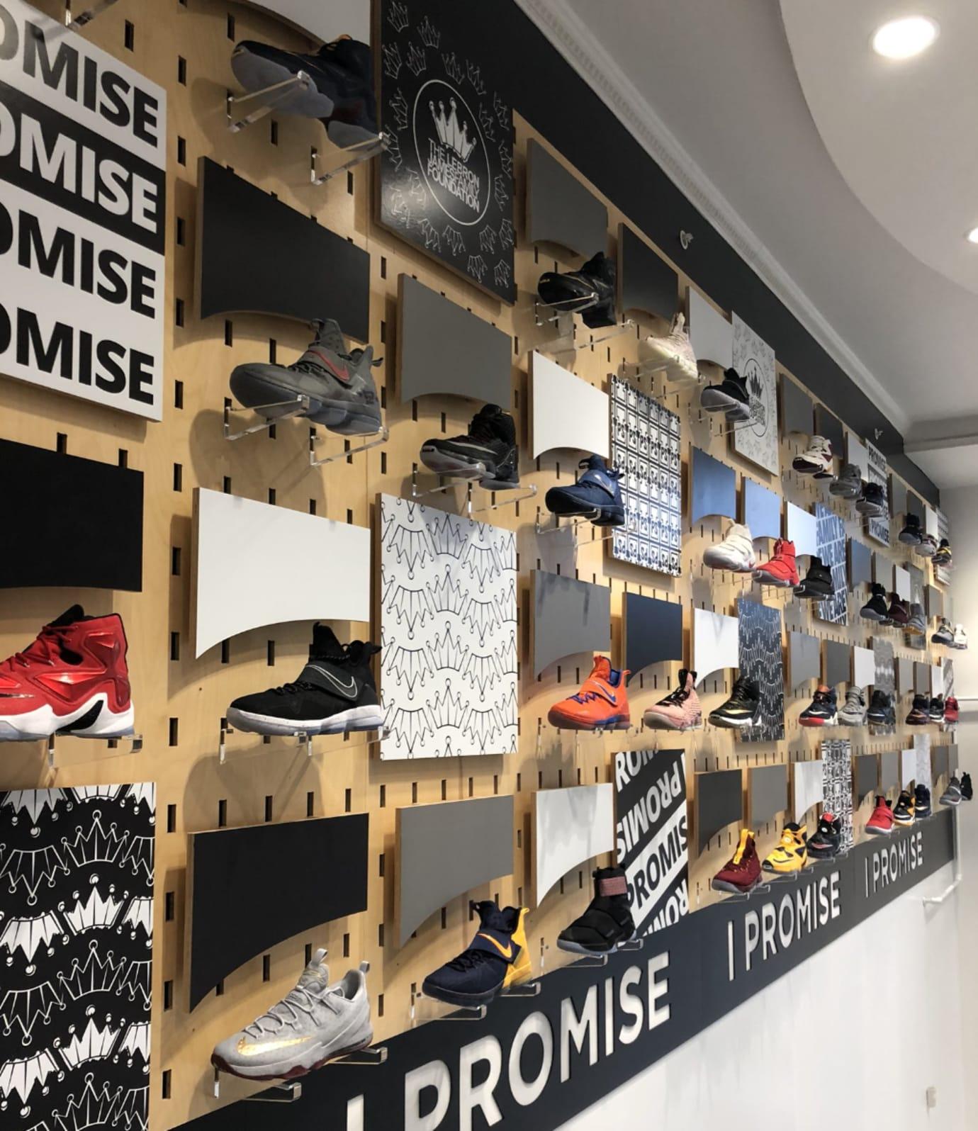 LeBron James game-worn sneaker wall I Promise school 1