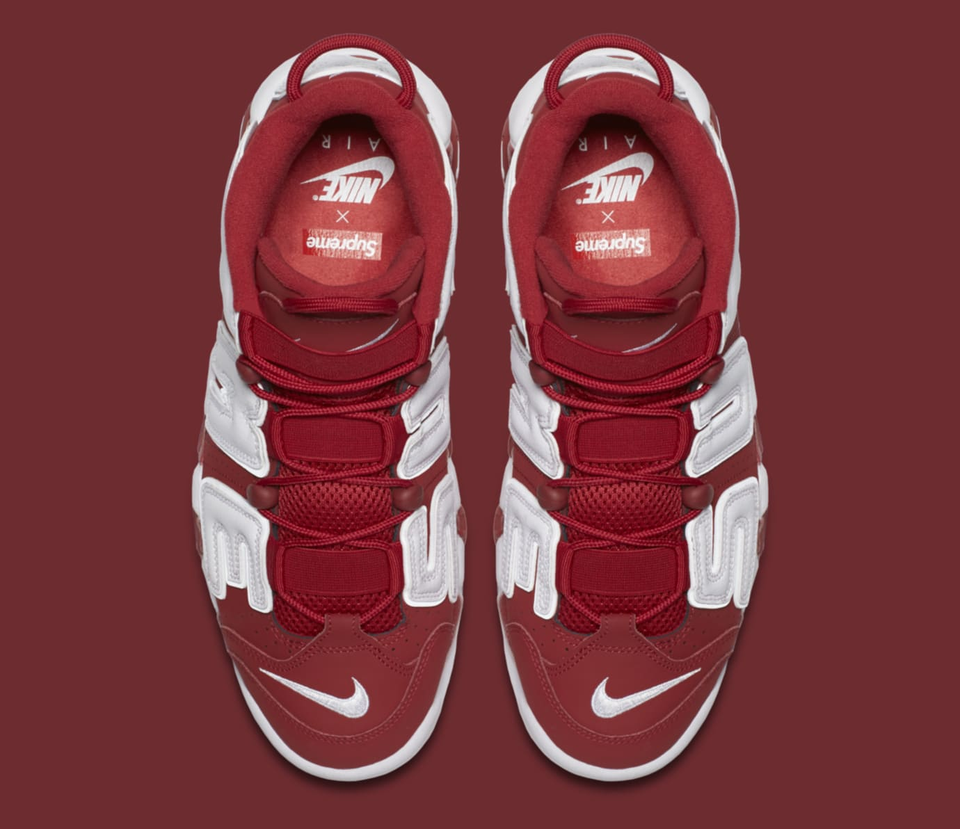 Red Supreme Nike Air More Uptempo 902290-600 Top