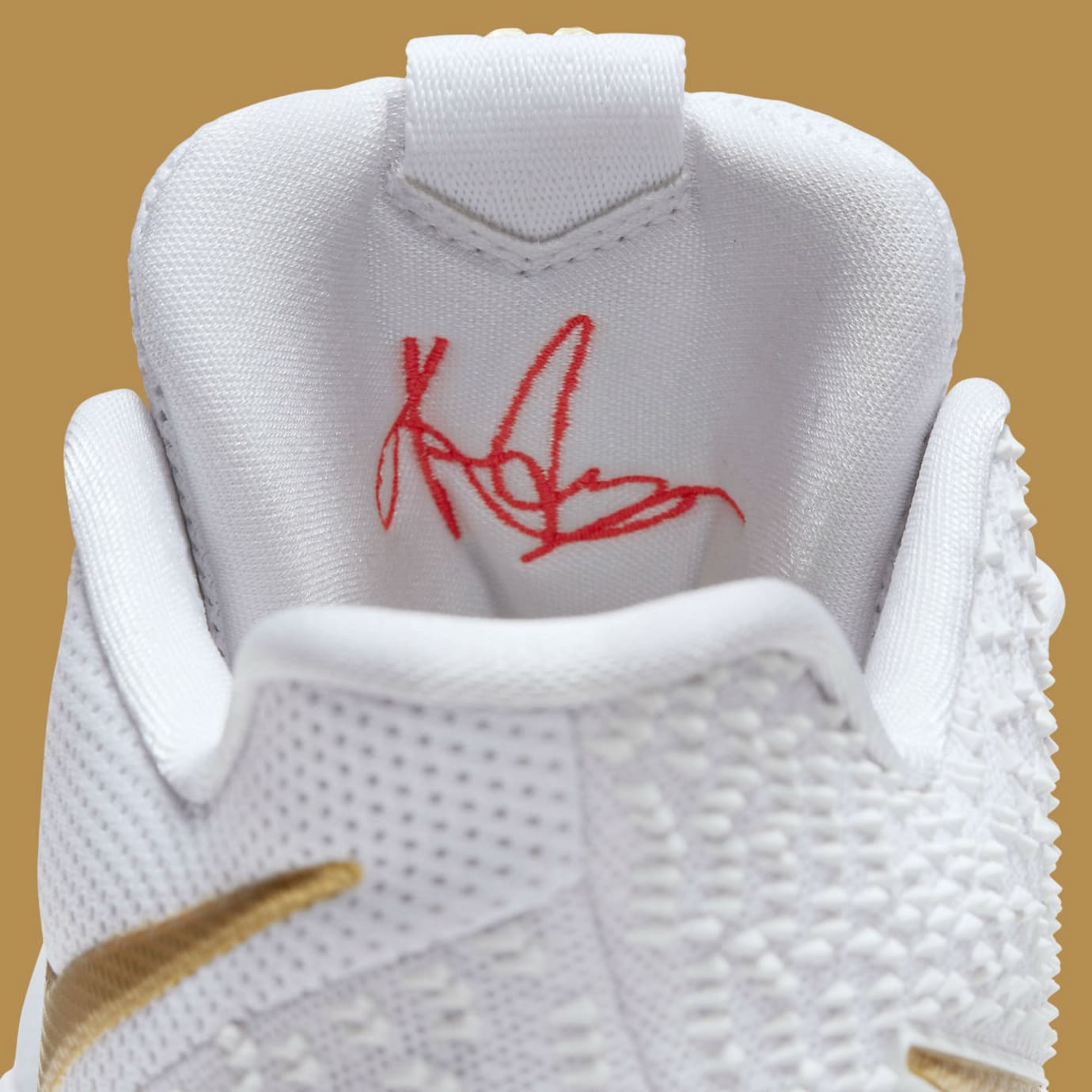Nike Kyrie 3 White/Gold Release Date Tongue 852396-902