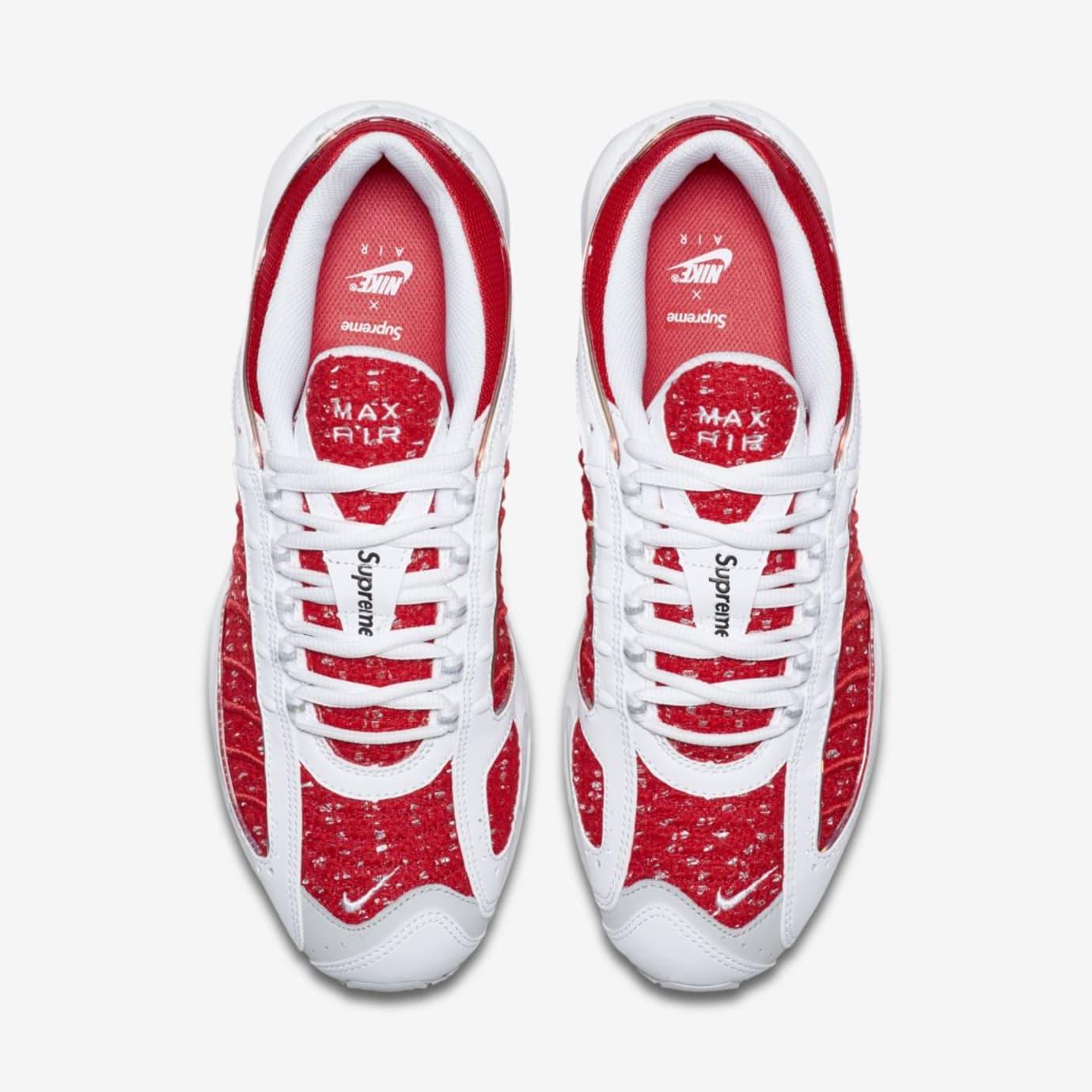 Image via  J23app · Supreme x Nike Air Max Tailwind 4  White University Red -White-Geyser 1ca4a71233ee