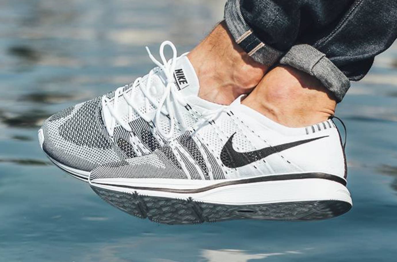 White Black Nike Flyknit Trainer On Feet 6