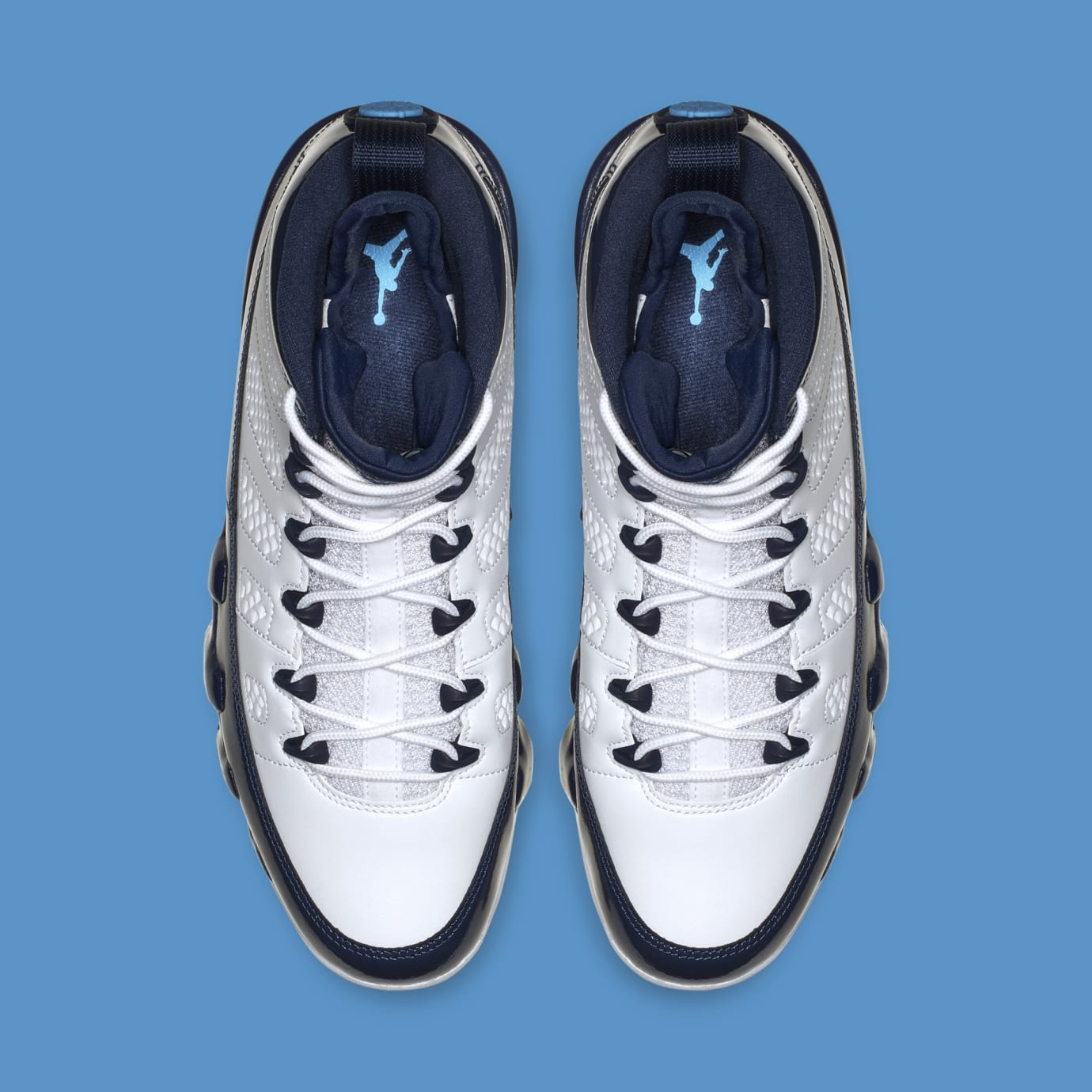 0883b412eb4 Image via Nike Air Jordan 9 'White/Midnight Navy-University Blue'  302370-145 (