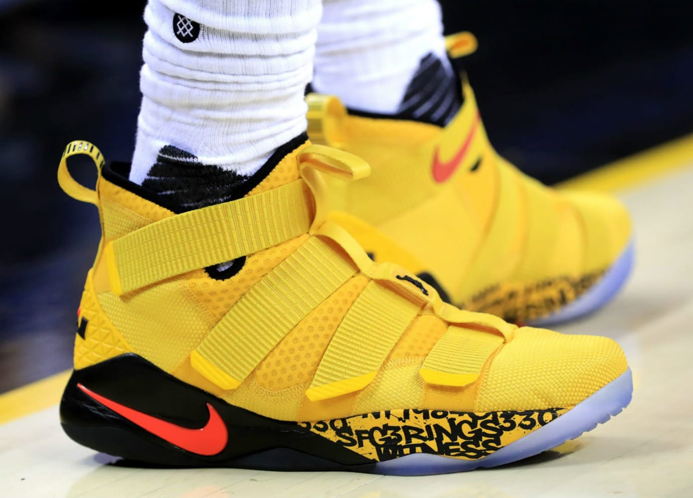 170ff755f0d9 LeBron James Nike LeBron Soldier 11 Yellow Game 4 PE