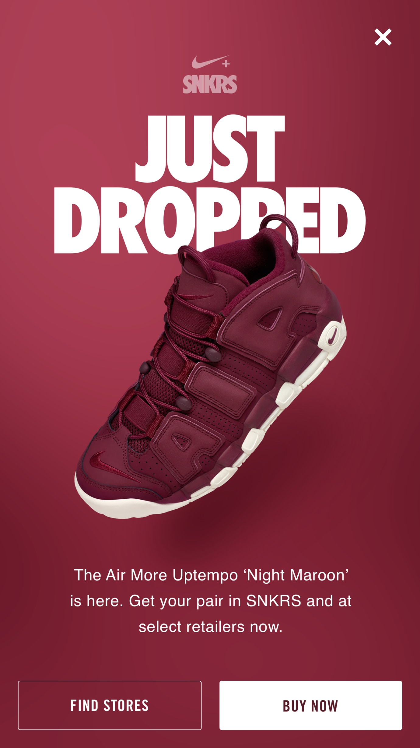 Nike SNKRS Night Maroon Uptempo