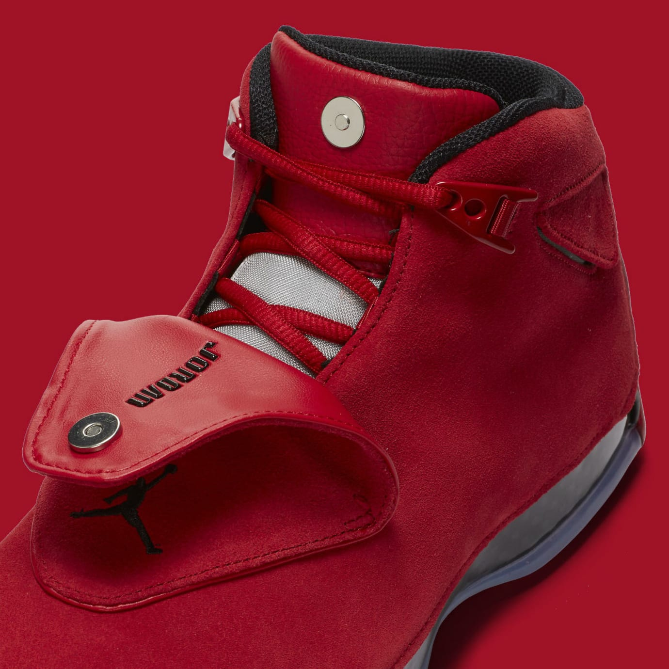 buy online f9f23 93bce Air Jordan 18 XVIII Toro Gym Red Release Date AA2494-601 Shroud