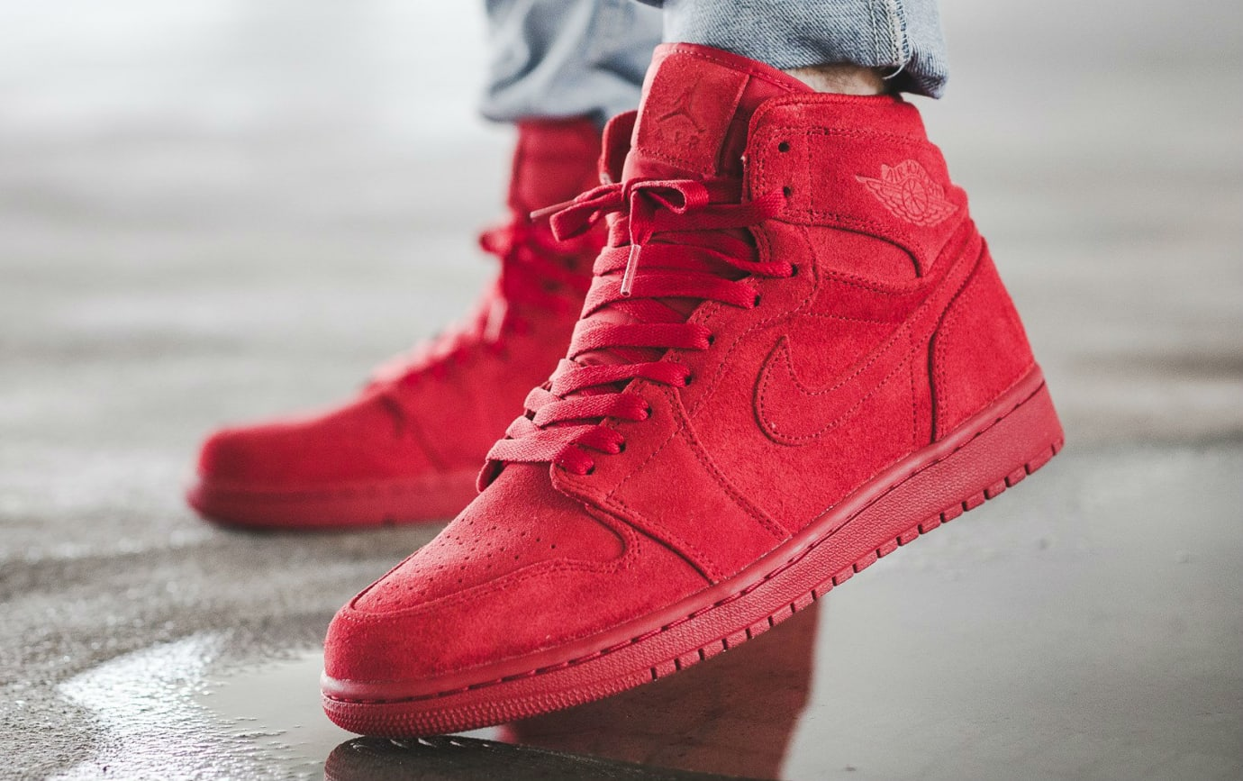 save off 068d7 51417 Air Jordan 1 Red Suede On-Foot 332550-603 | Sole Collector