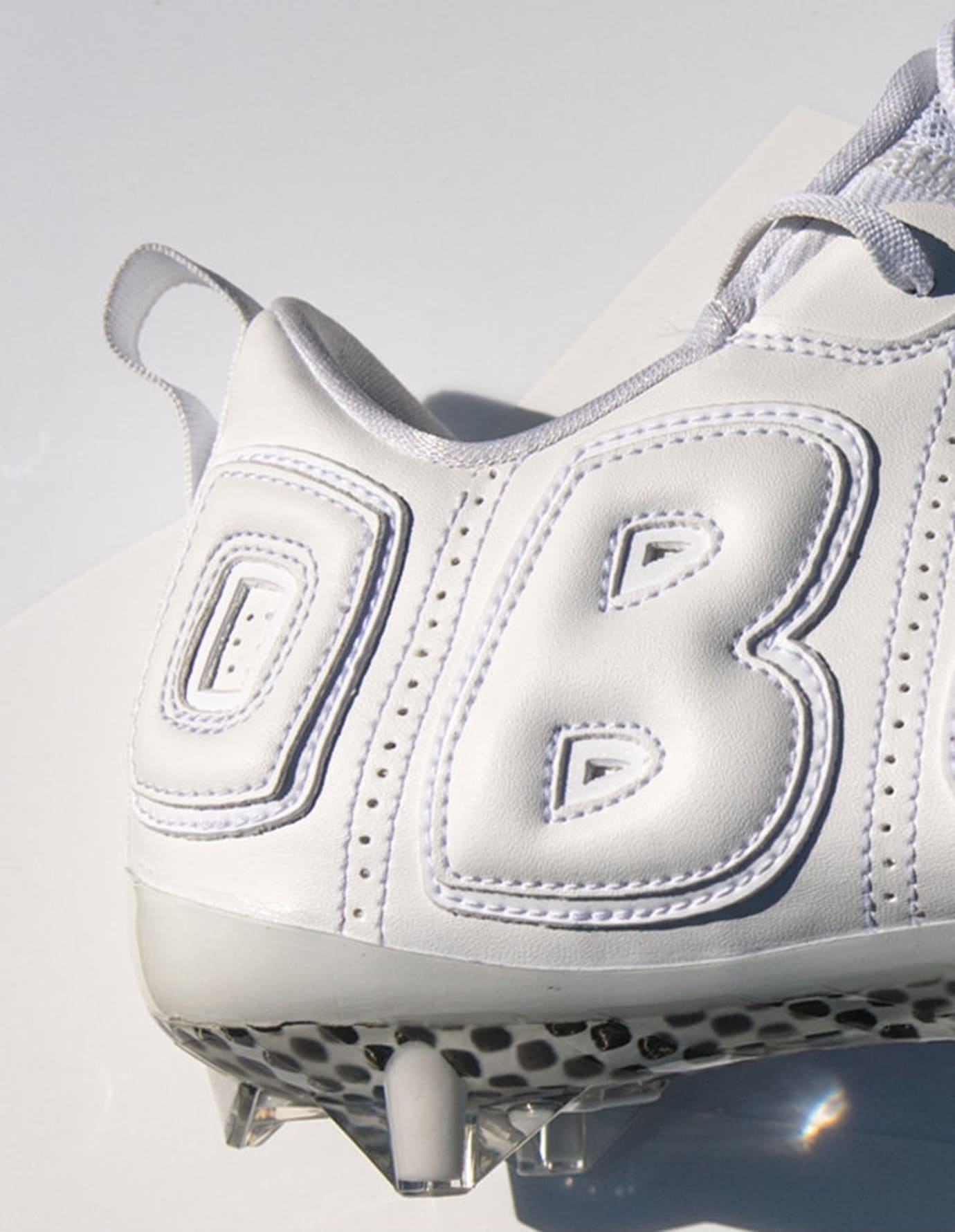 Odell Beckham Nike Air More Uptempo White Cleats Heel