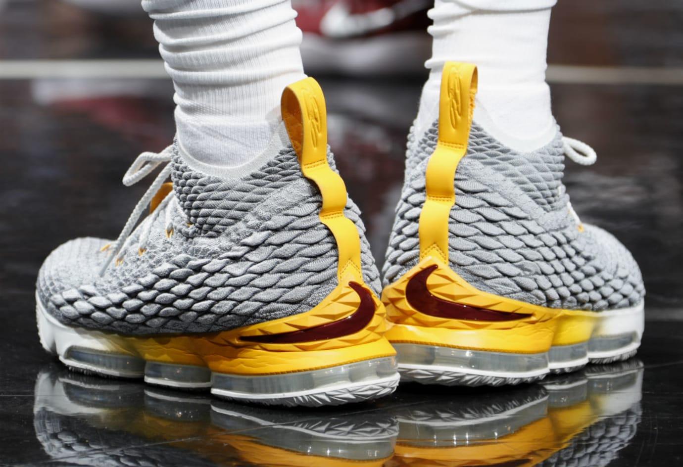 LeBron James Nike LeBron 15 Grey/Yellow PE Heel