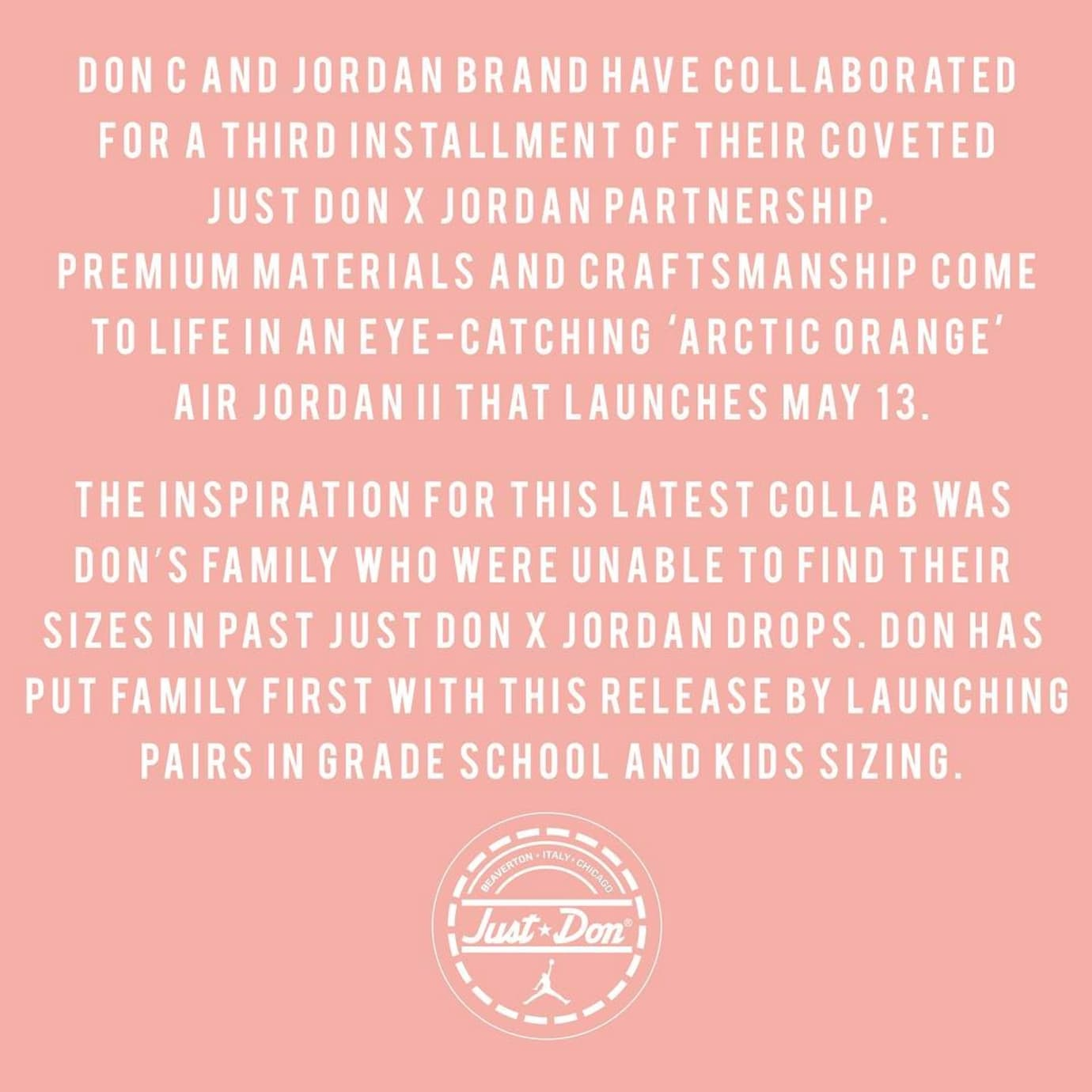 410c67b5313006 Arctic Orange Pink Don C Air Jordan 2 Release Date Announcement