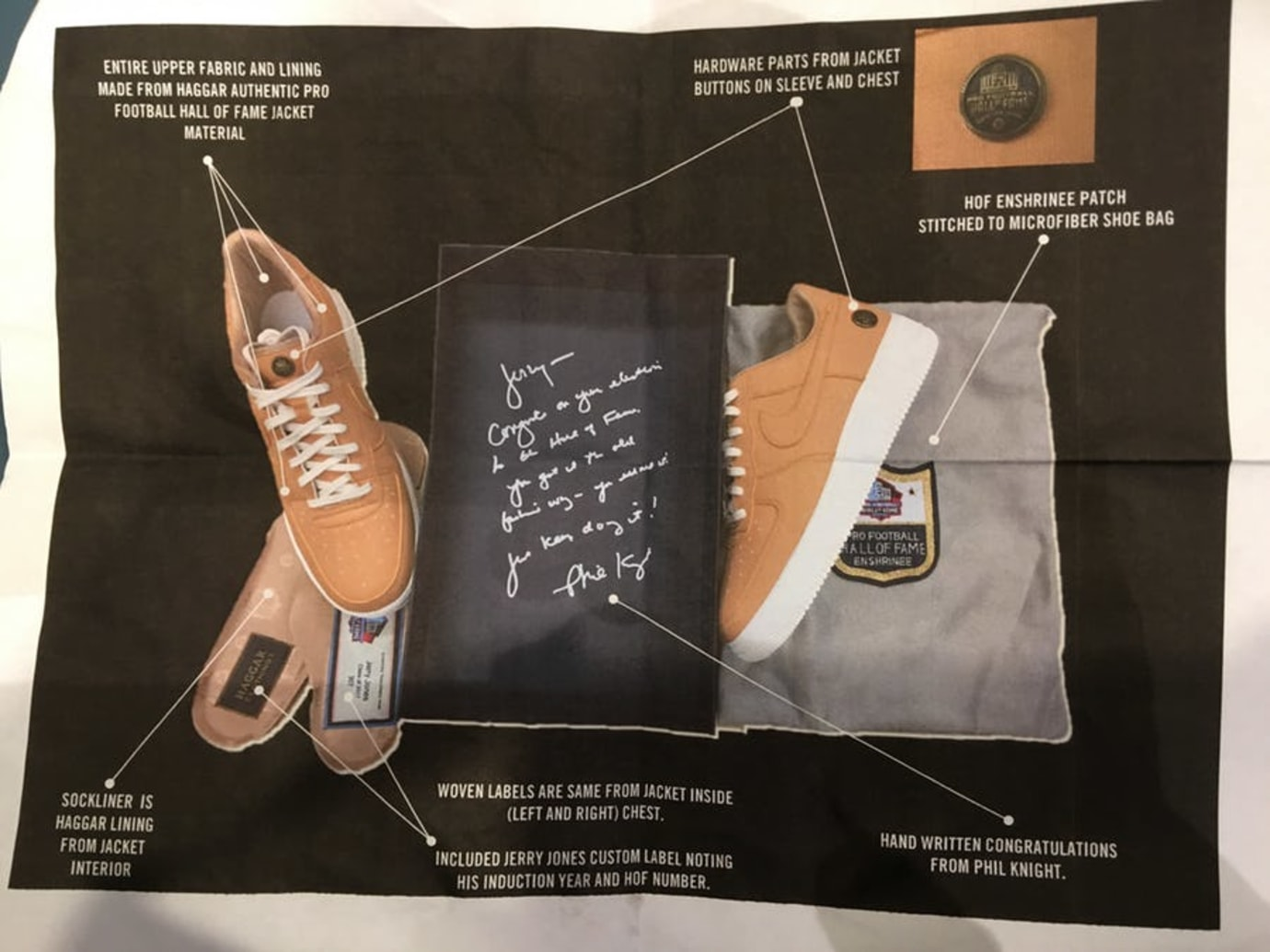 Jerry Jones Nike Air Force 1 Low Hall of Fame Details