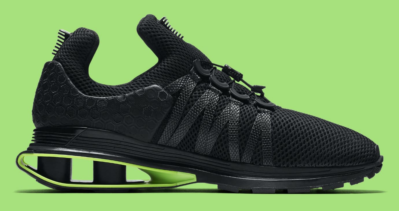 separation shoes 72f46 303f2 Nike Shox Gravity Luxe Black Green Strike Release Date AR1470-003 Medial