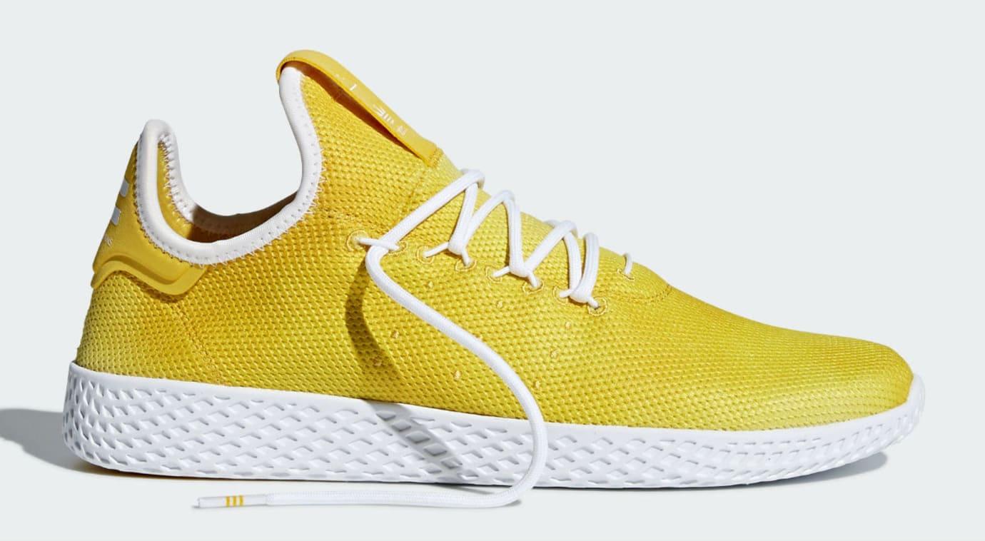 Pharrell x Adidas Tennis Hu Holi Bright Yellow Release Date DA9617 laces