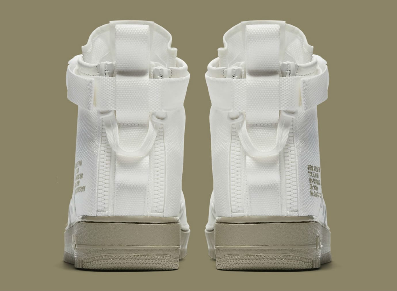 new product 44fec 534fd Nike SF Air Force 1 Mid Ivory Neutral Olive Release Date Heel 917753-101