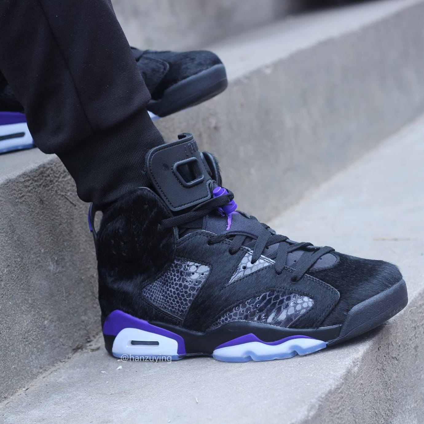 size 40 41156 04c34 Image via hanzuying · Air Jordan 6 VI Cow Fur Snakeskin Black Purple  Release Date AR2257-005 On-