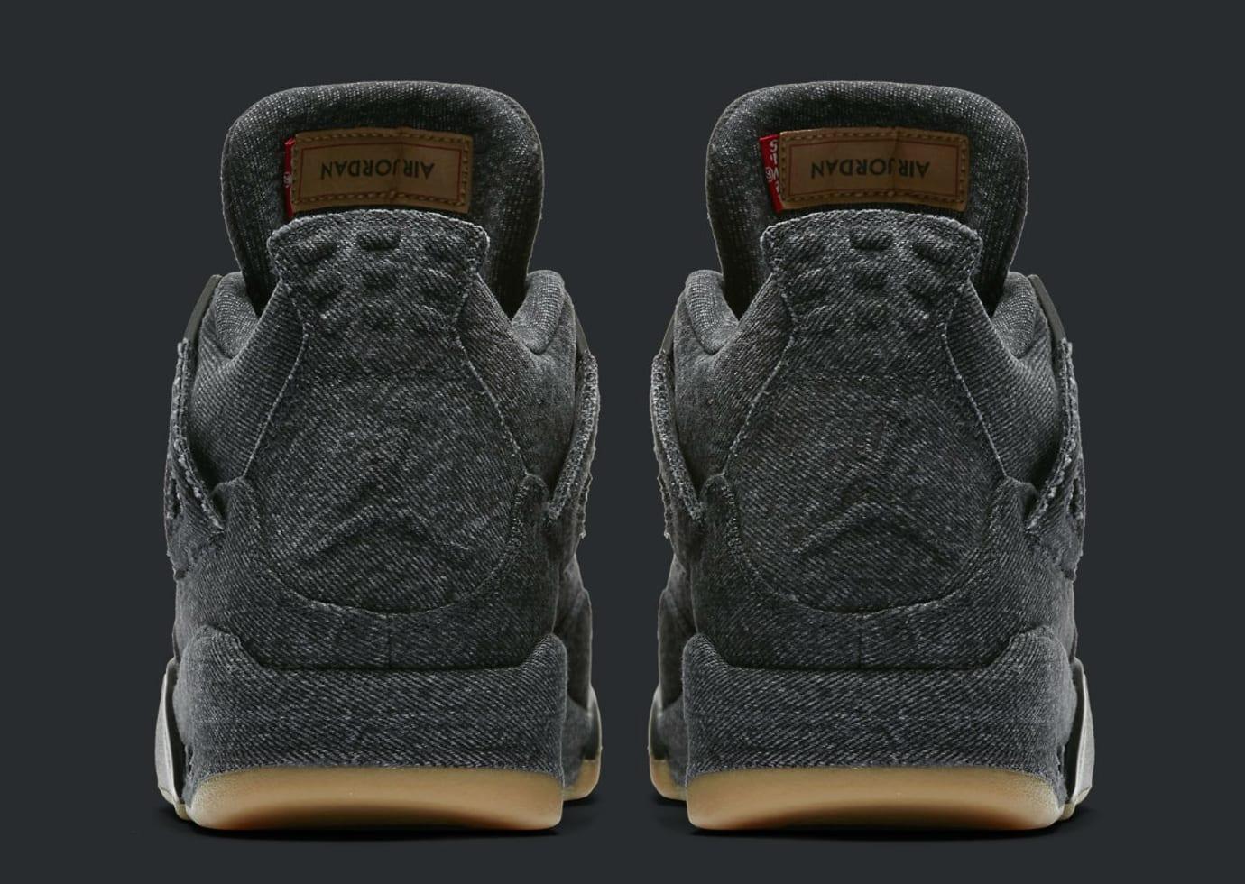 Levi's x Air Jordan 4 Black Denim Release Date AO2571-001 Heel