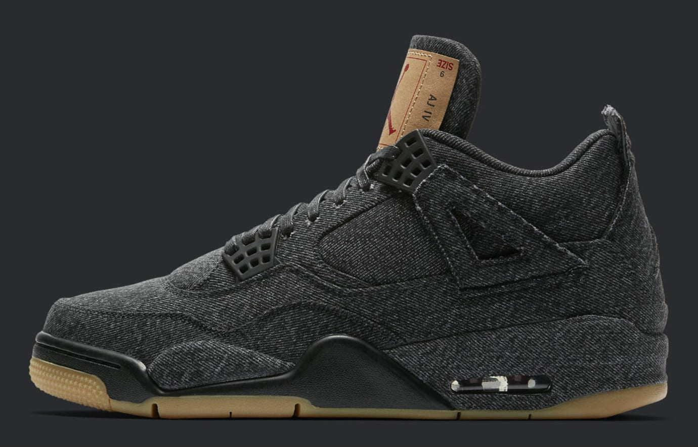 Levi's x Air Jordan 4 Black Denim Release Date AO2571-001 Profile