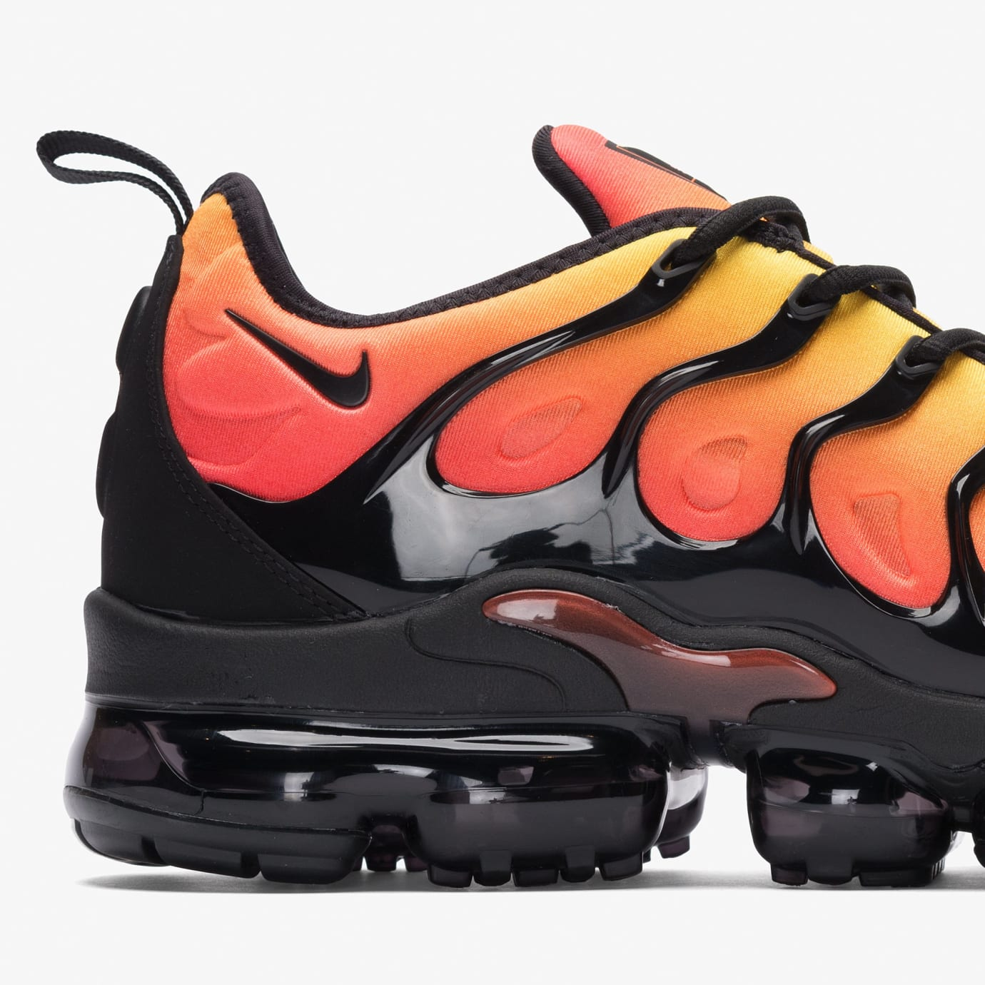 f2d89371d13 Image via Bows and Arrows · Nike VaporMax Plus  Sunset  Black Total Orange  (Heel)