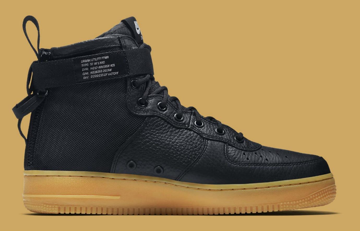 Nike SF Air Force 1 Mid Black/Gum Release Date Medial 917753-003