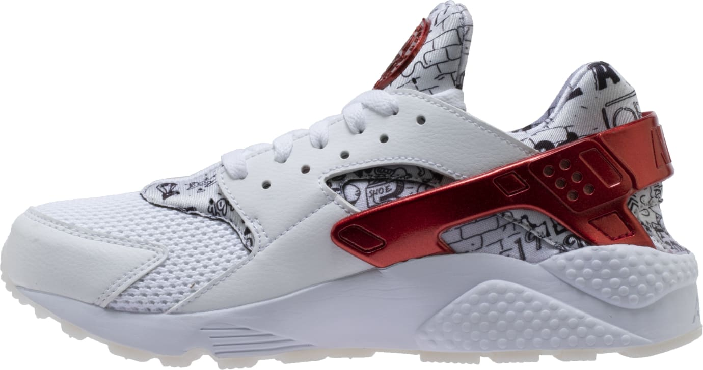Shoe Palace x Nike Air Huarache White/Red/Platinum 'Joonbug' AJ5578-101 (Medial)