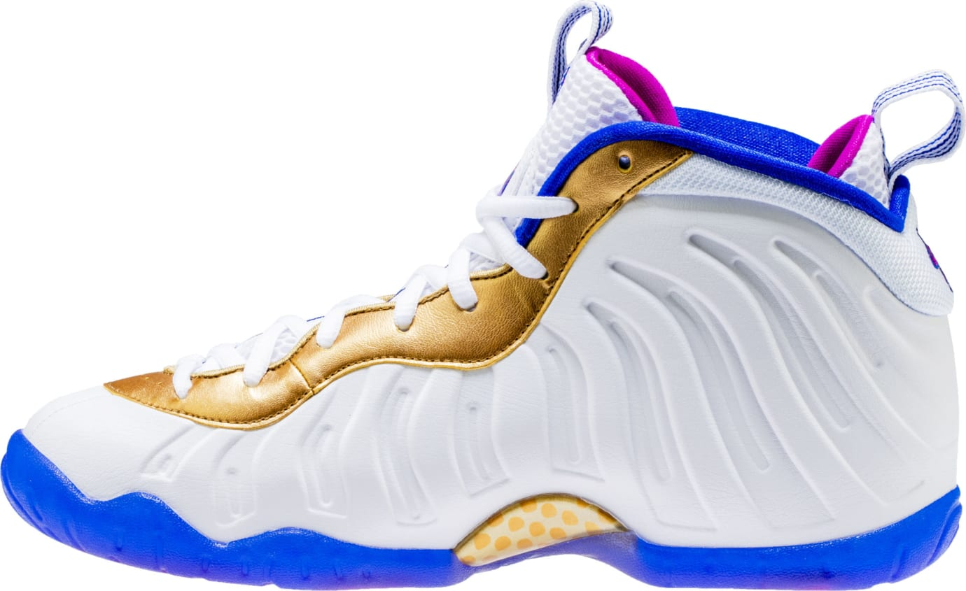 Nike Little Posite One White Fuchsia Blast Racer Blue Metallic Gold Release Date 644791-103 Medial