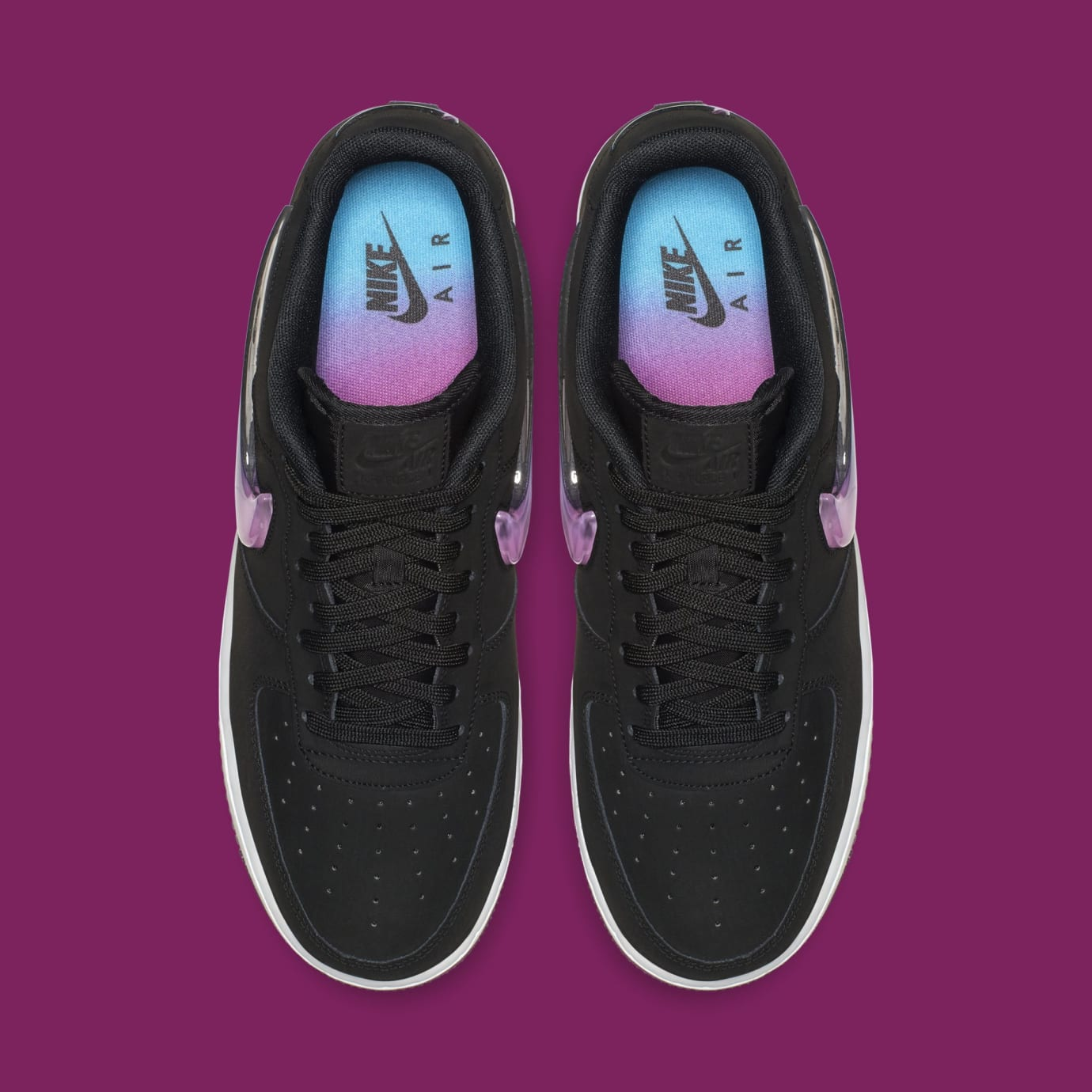 78b6df8cb09 Image via Nike Nike Air Force 1 Low Jewel  Black Active Fuchsia-Blue  Lagoon-White