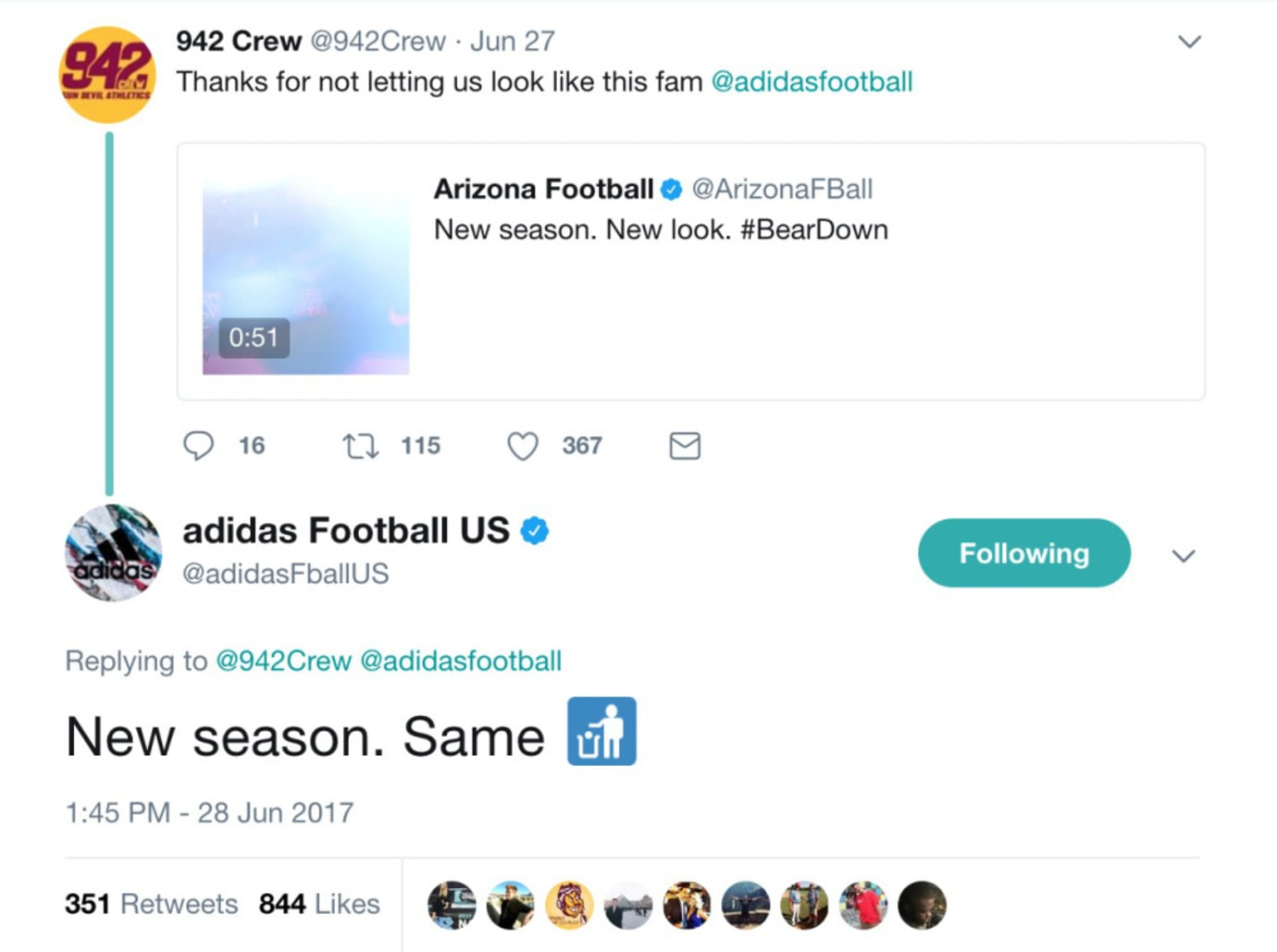 Adidas Takes a Shot at Nike's Arizona Football Uniforms