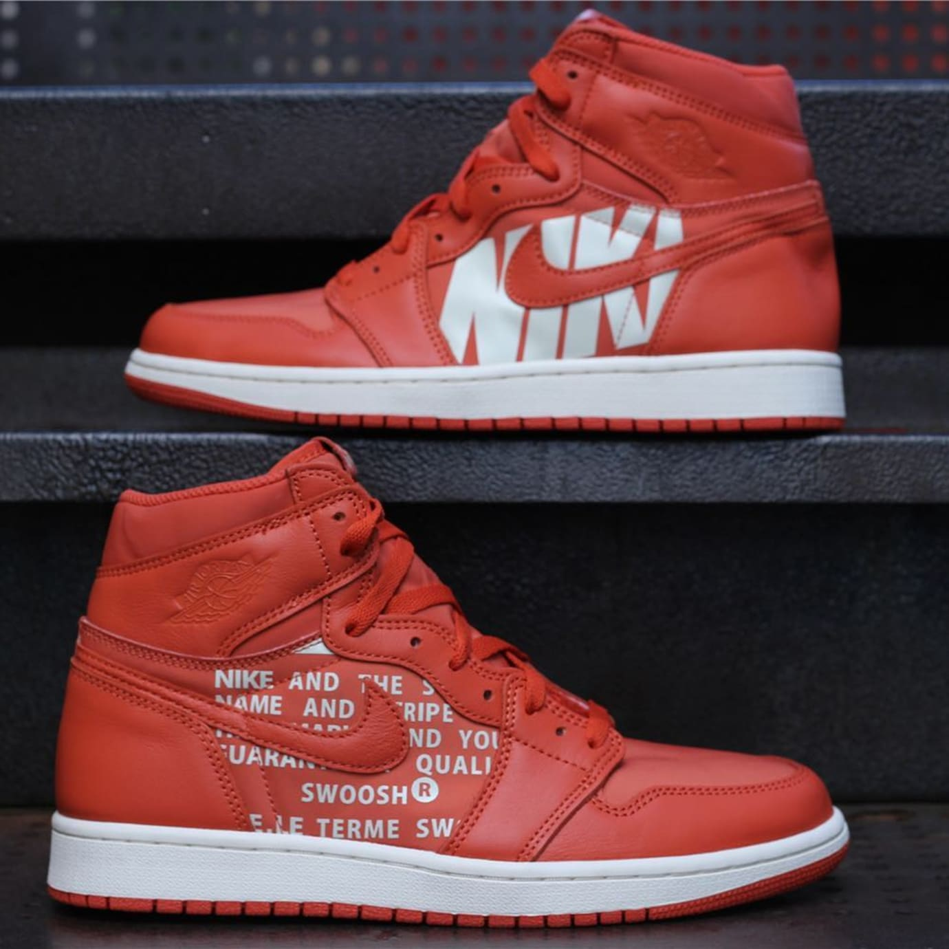 2ba3e854c52296 Air Jordan 1 Orange Nike Swoosh Release Date Side