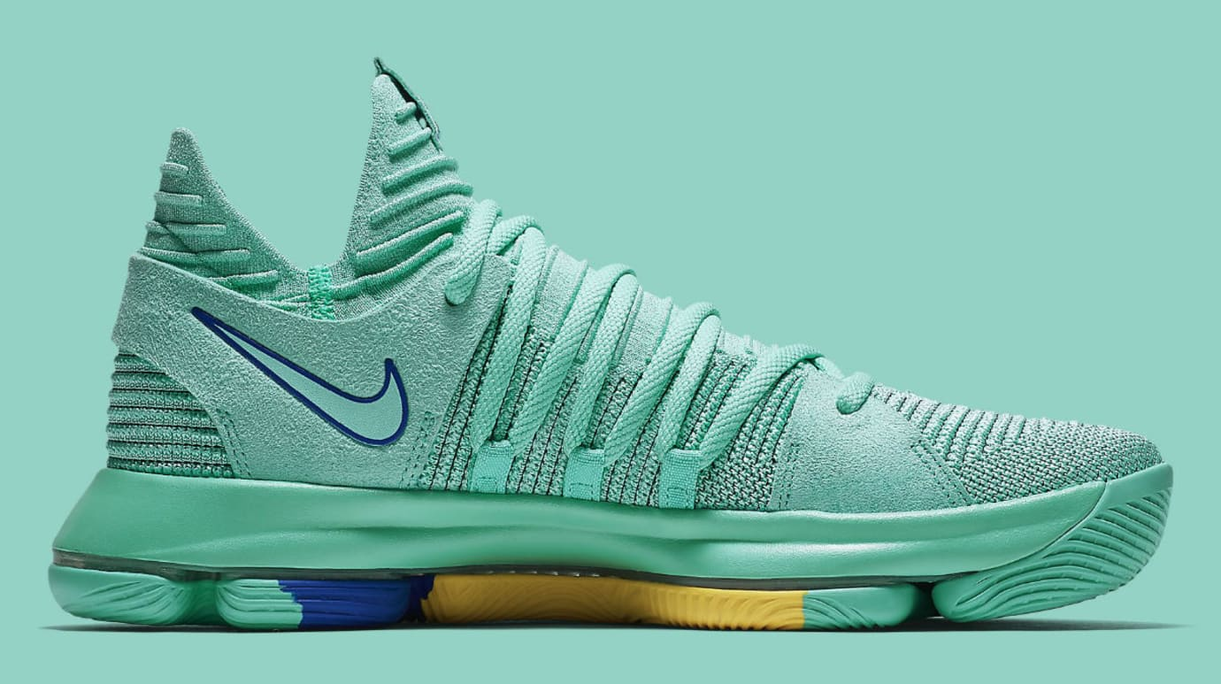 promo code 722ff 6f739 Nike KD 10 X City Edition Hyper Turquoise Racer Blue Release Date  897816-300 Medial