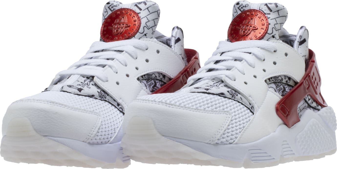 Shoe Palace x Nike Air Huarache White/Red/Platinum 'Joonbug' AJ5578-101 (Pair)