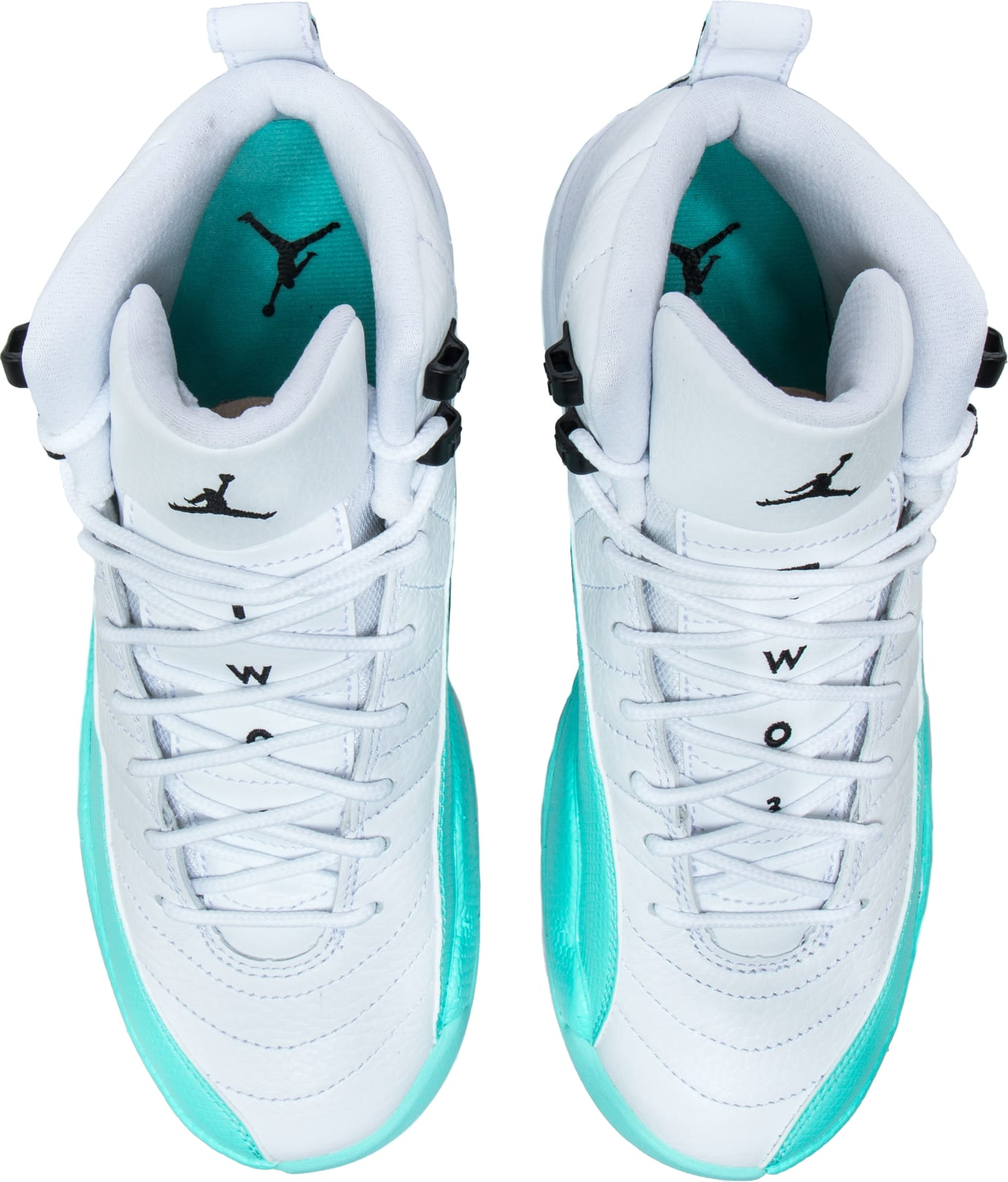 b8a4227f02e Image via Shoe Palace Air Jordan 12 XII Retro GG  White Light Aqua Black   510815-