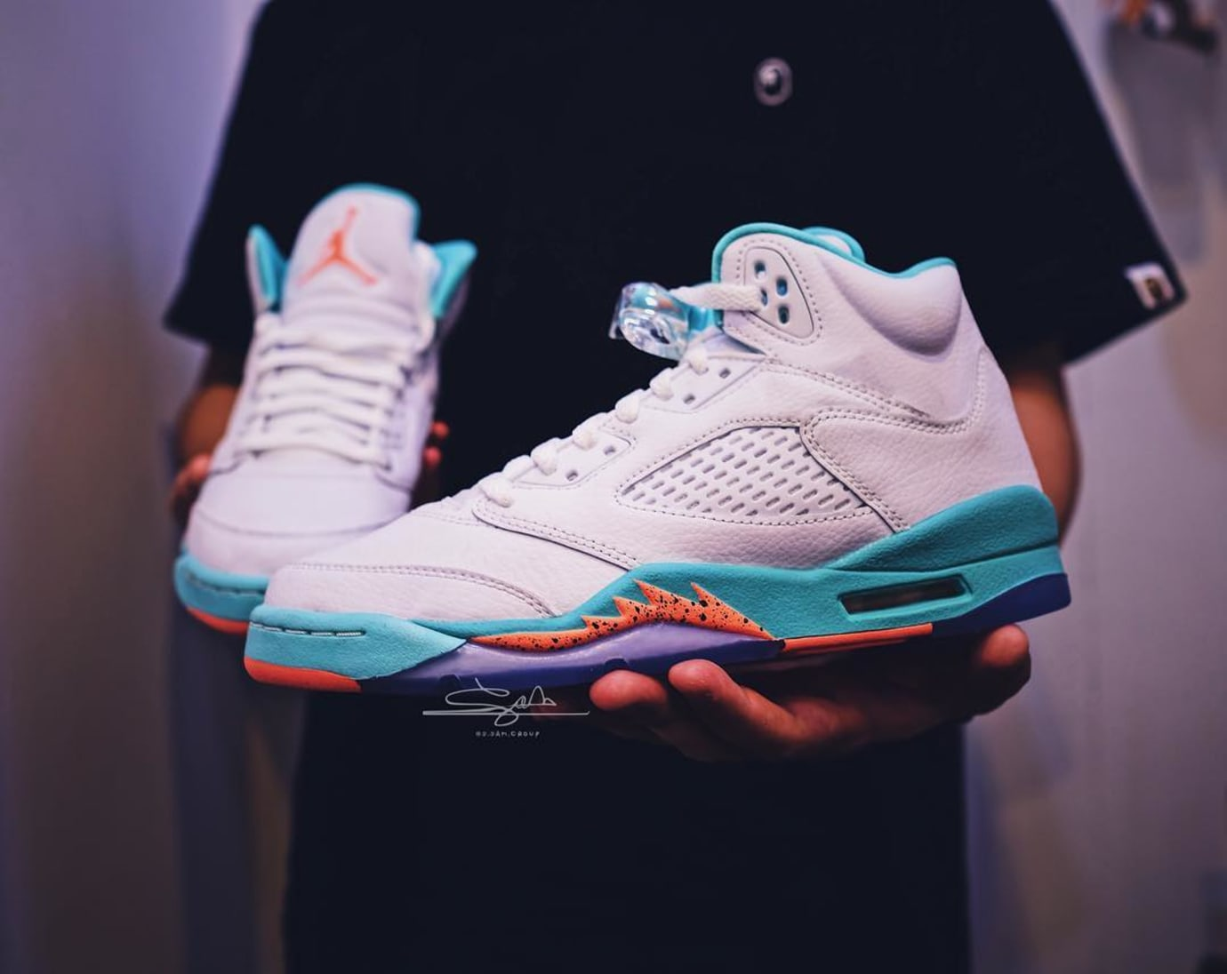 quality design 001a6 18141 Air Jordan 5 GS Teal Orange  Miami