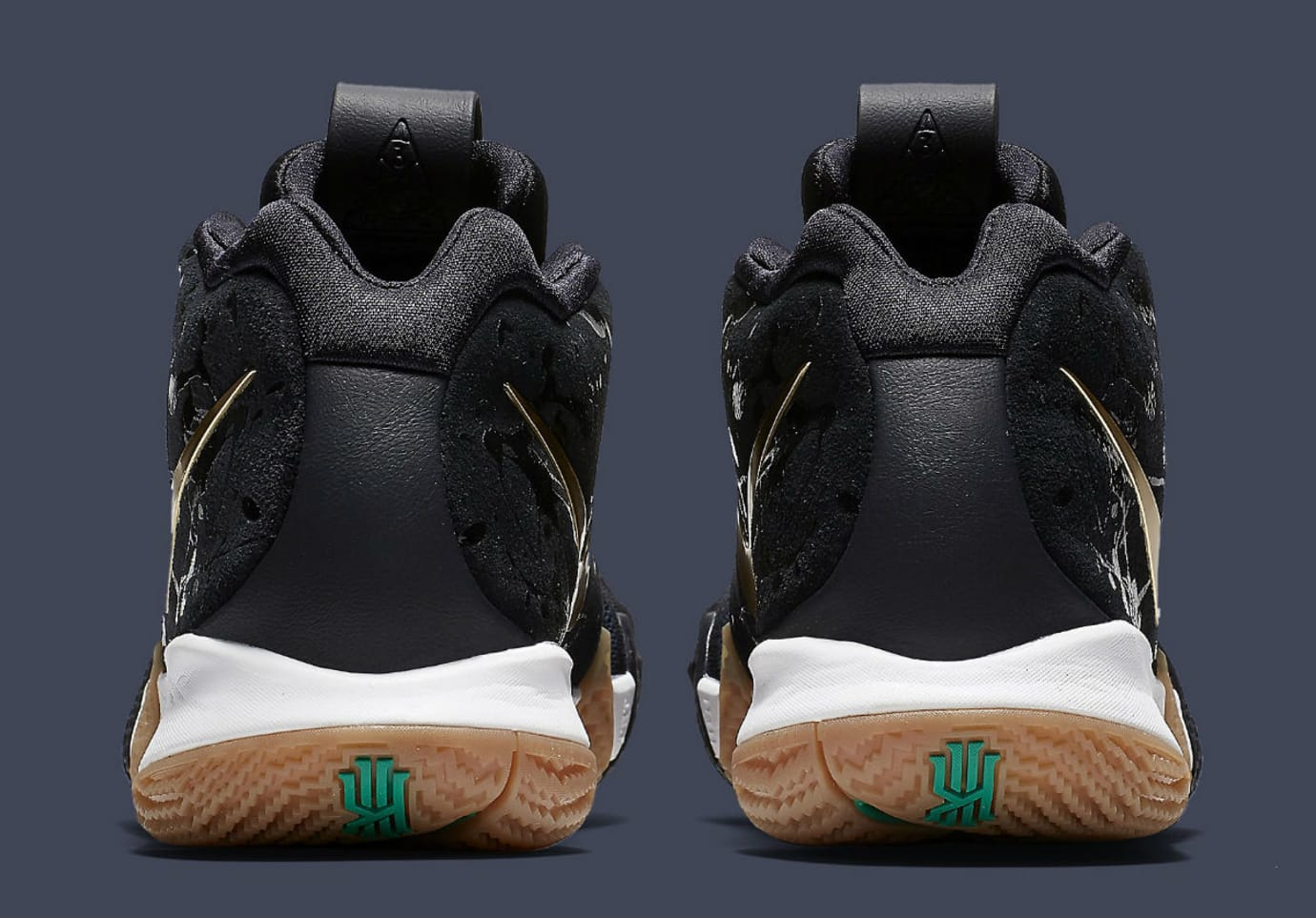 Nike Kyrie 4 Pitch Blue Gold Release Date 943807-403 Heel 44ef055b8