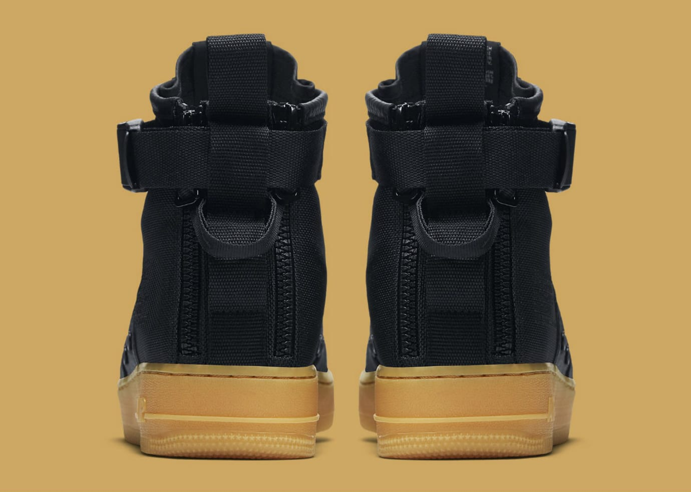 Nike SF Air Force 1 Mid Black/Gum Release Date Heel 917753-003