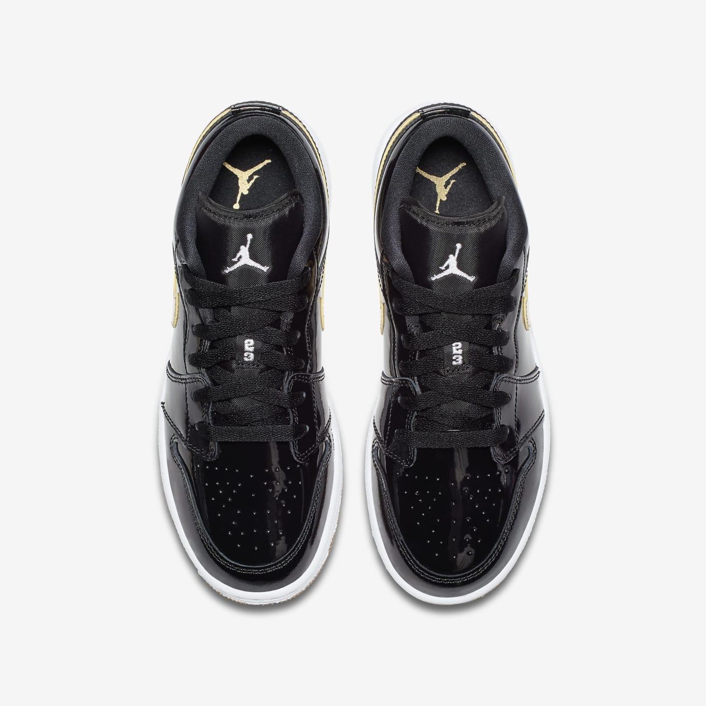 Air Jordan 1 Low GG Black/Metallic Gold-White-Gum 554723-032 (Top)
