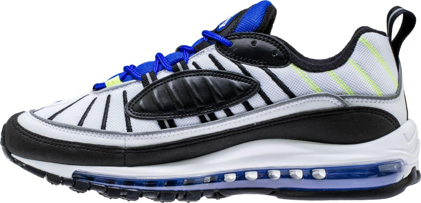 Nike Air Max 98 White Black Racer Blue Volt Release Date 640744-103 Medial