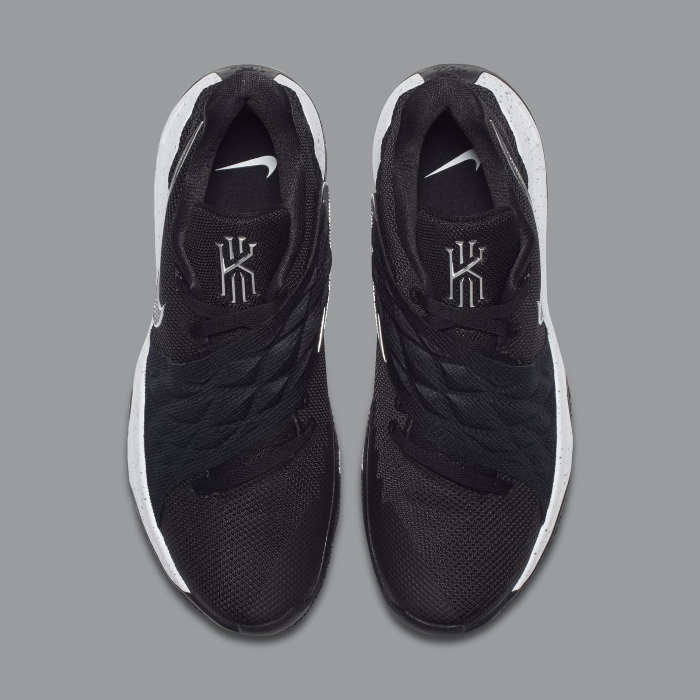 9c118bd5021e Image via Nike Nike Kyrie 4 Low  Black Metallic Silver  AO8979-003 (Top)