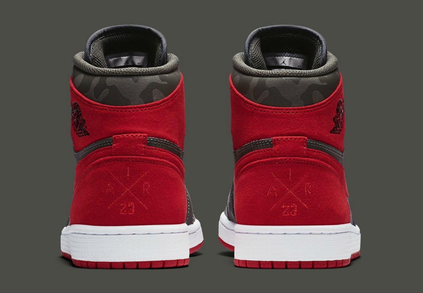 Air Jordan 1 Camo River Rock Red Release Date Heel AA3993-032