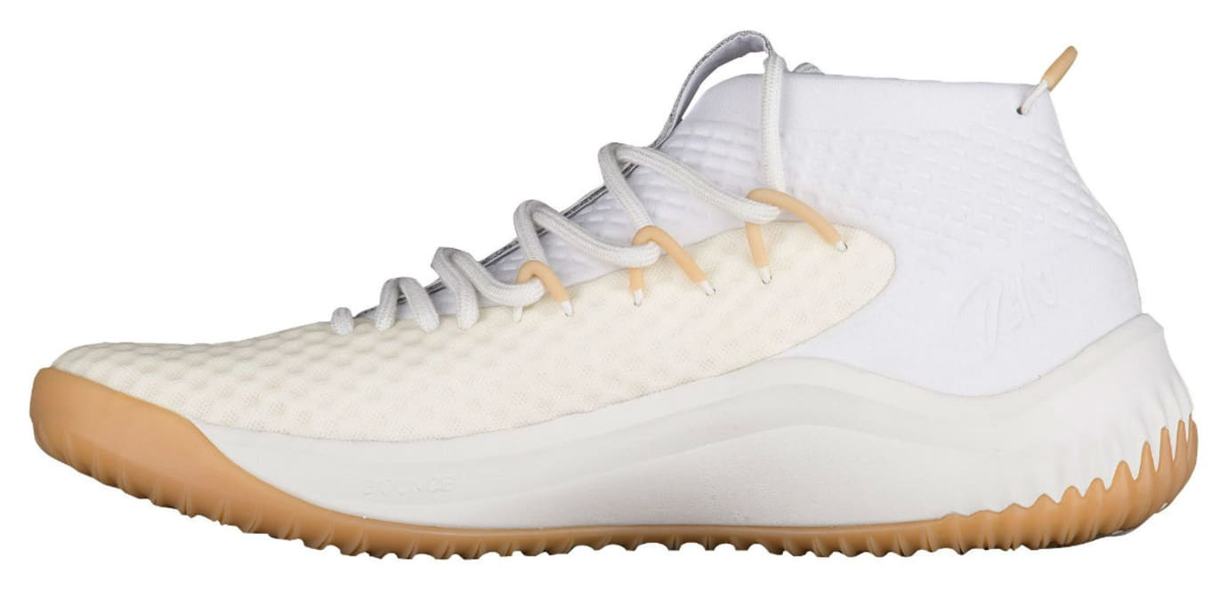 new product 74c93 8dae4 Adidas Dame 4 White Gum Release Date Medial BY4496