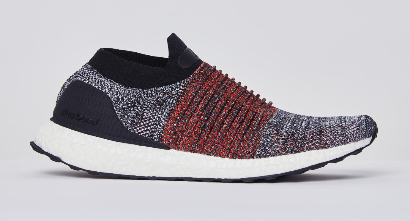 Adidas UltraBOOST Laceless Black/Red (Lateral)