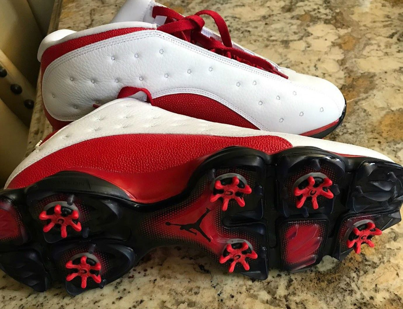 Air Jordan 13 Low Golf Shoes White Red Sole
