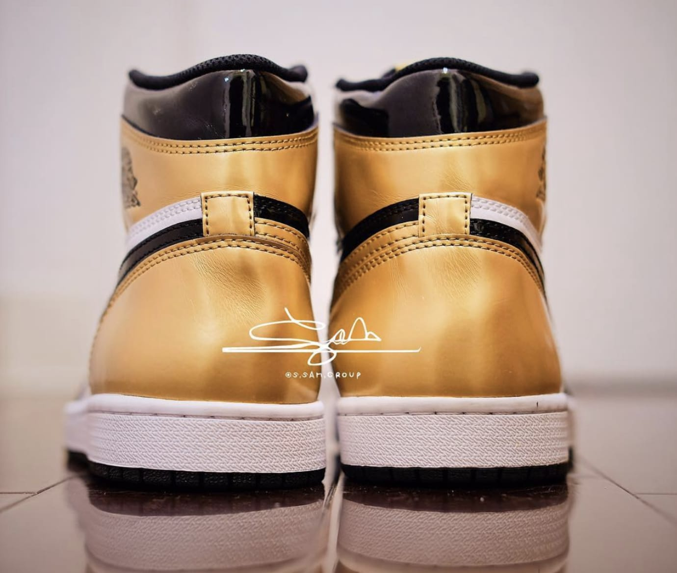 b31f9635c480 Air Jordan 1  Gold Toe  Black Black-White-Metallic Gold AQ7474-001 ...