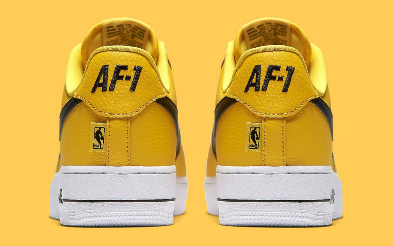 sale retailer ee7a3 2f2cb Nike Air Force 1 Low NBA Yellow Release Date Heel 823511-701