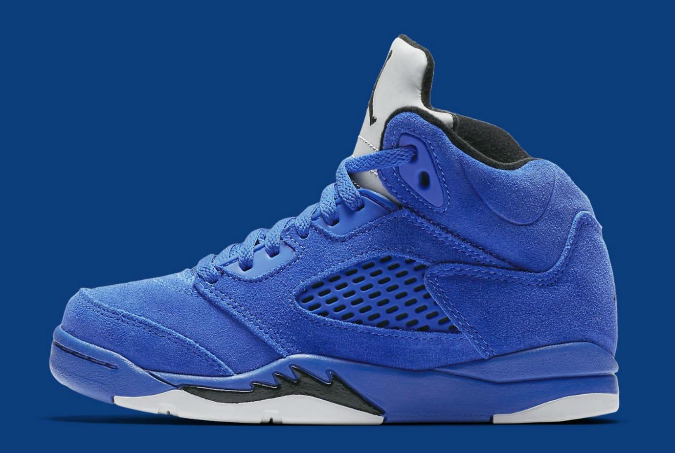 e8f15d4d82ed Air Jordan 5 V Blue Suede Flight Suit Release date Preschool 440889-401
