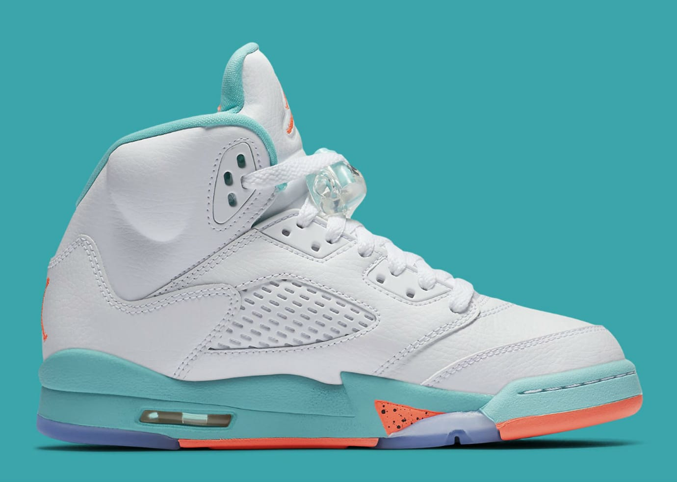 size 40 c5e30 2da0e Image via Nike Air Jordan 5 V GS White Crimson Pulse Light Aqua Release  Date 440892-100 Medial