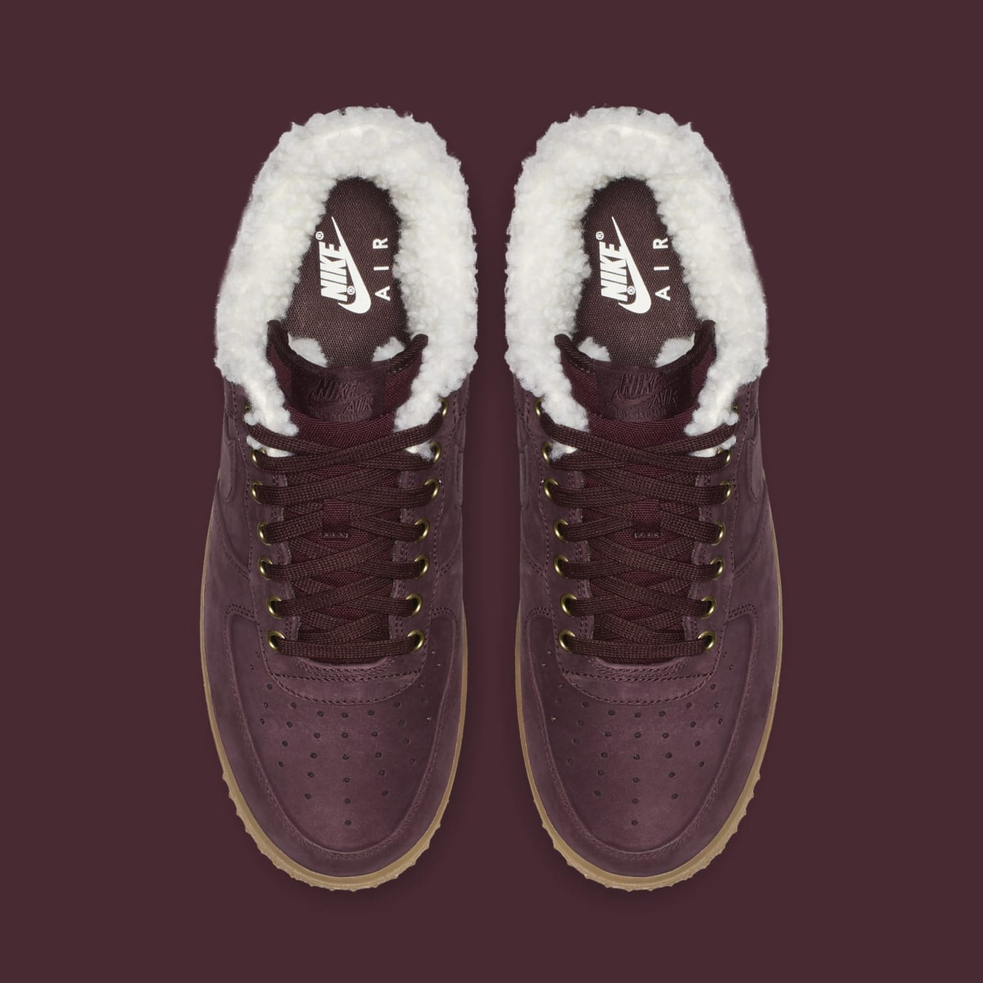 28c82c871d8c Image via Nike Nike Air Force 1 Premium Winter  Burgundy Crush Gum Light  Brown  Av2874-